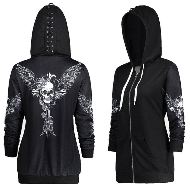 Autumn Punk Women Skull Wings Print Halloween Zip Up Hoodie Long Sleeve Spring Sweatshirt Coat Cool Hoodie Sudaderas Mujer DG245
