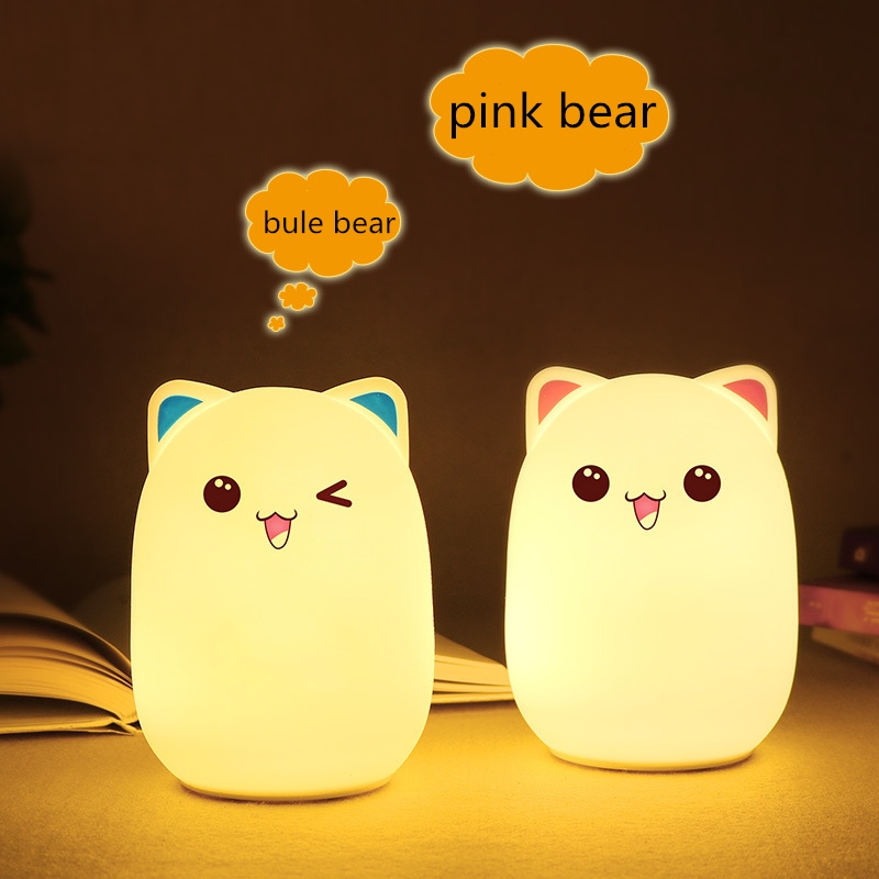 Image 2 - Silicone Touch Sensor cartoon LED Night Light for childrens night light LED USB Children Animal LED RGB 24Key remote control-in LED Night Lights from Lights & Lighting