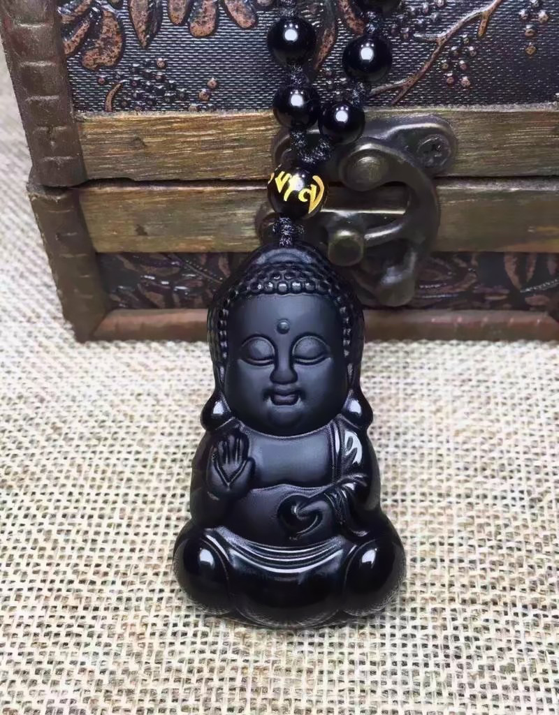 Beautiful Chinese natural A obsidian carved  statue pendant /& necklace Buddha 佛