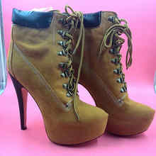 Brown Winter Boots For Women Round Toe Ladies High Heel Shoes Real Images Botas Mujer Made-to-order US4-US14 No PS Ankle Boots