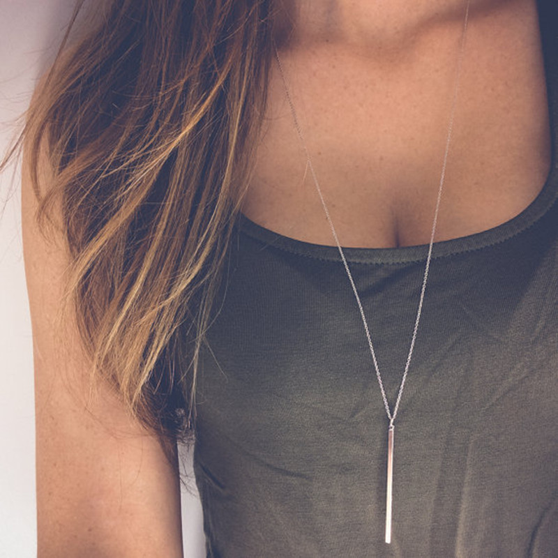 Classic Stick Pendant Necklace Gold Plated Girl Long Link Chain Square Copper
