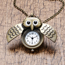Fashion Owl Design Bronze Fob Pocket Watch with Sweater Necklace Pendant Chain for Women Girls Children Brithday Christmas Gift