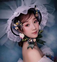 Green Big Wedding Bride Flower Hat White Veil Fairy Ribbon Fascinator Hat Party Cocktail Derby Elegant Ladies Wedding Headdress