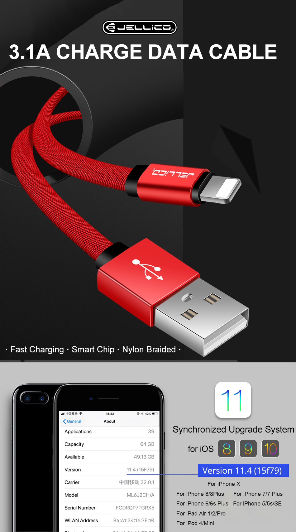 Jellico Usb Cable For X 8 7 6 Plus 31a Fast Charging Mobile Phone Extension Wiring Here At Dhgatecom You Will Find An Enormous Collection Of Cheap Cables Compatible With The Almost Brand Phones Available On