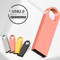Mini USB Flash Drive metálico 128 GB 32GB 64GB pendrive Cle USB Flash Pen Drive 32 64 128 GB USB Stick de logotipo personalizado