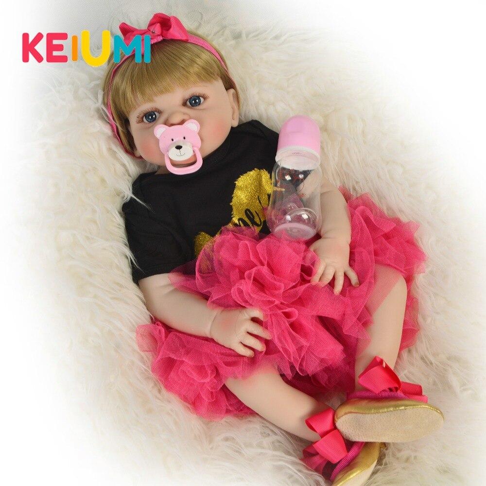 23 ''Full Silicone Reborn Baby Doll Ragazza Della Principessa Del Bambino Bambola Rinato Boneca Fare Il Bagno Del Corpo FAI DA TE Giocattolo di Compleanno Bella regalo-in Bambole da Giocattoli e hobby su  Gruppo 3