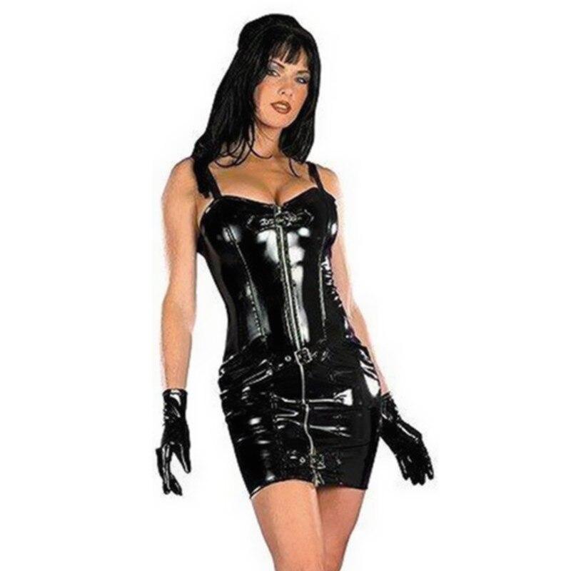 e23ab3a80 Hot Sale Plus Size M-XXXL Sexy Wetlook Leather women Clubwear Clothing Tube  Dress