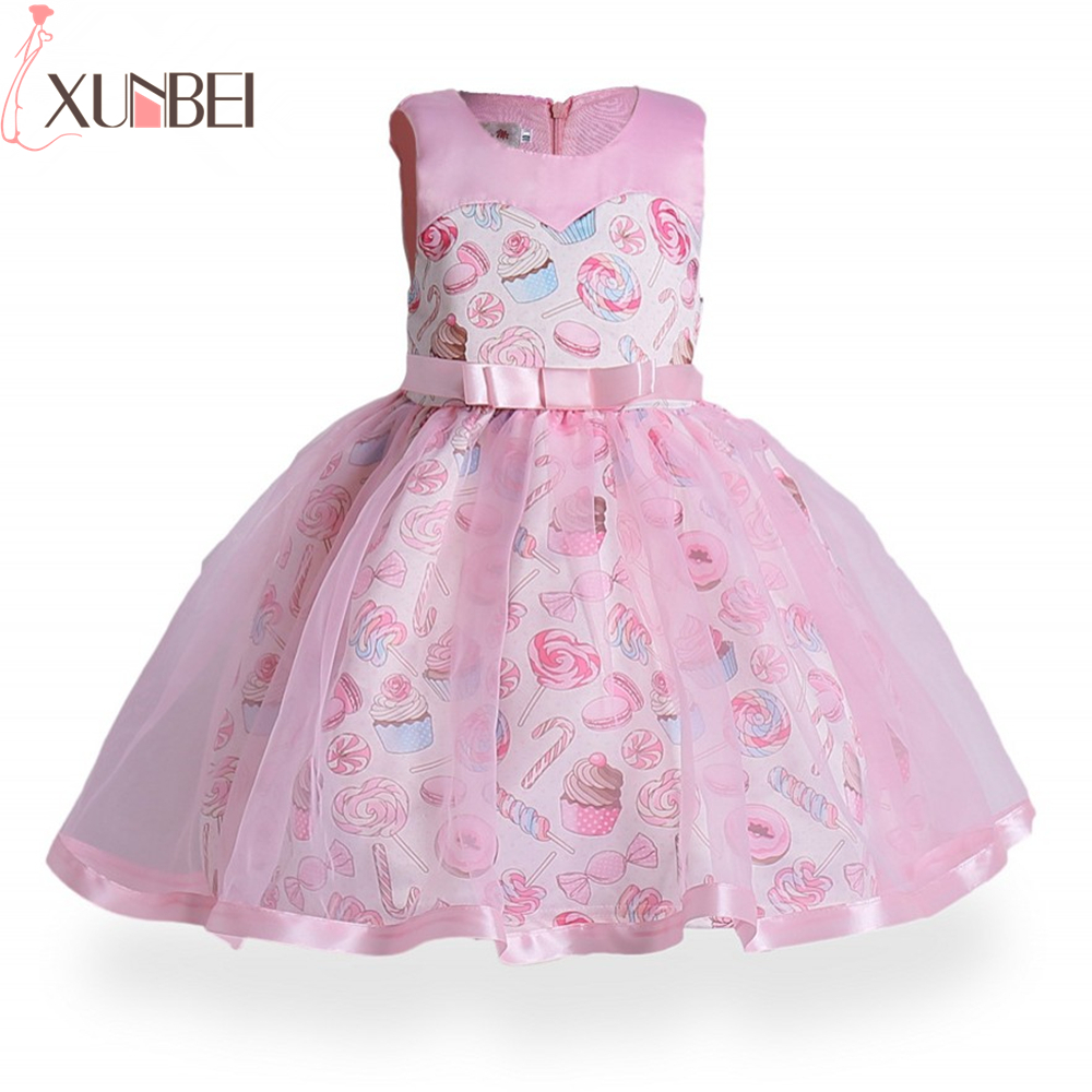 Cute Pink Candy Printed   Flower     Girl     Dresses   O-Neck Pageant   Dresses   For   Girls   Soft Tulle Knee Length vestido daminha