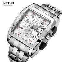 Megir new business men's quartz watches fashion brand chronograph wristwatch for man hot hour for male with calendar 2018
