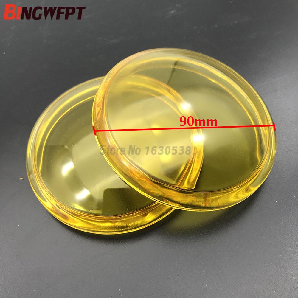 2pcs/lot Round Diameter 90mm Fog Light Yellow Anti-fog Glass Tempered Glass For Mitsubishi L200 Outlander Pajero Colt Triton ASX