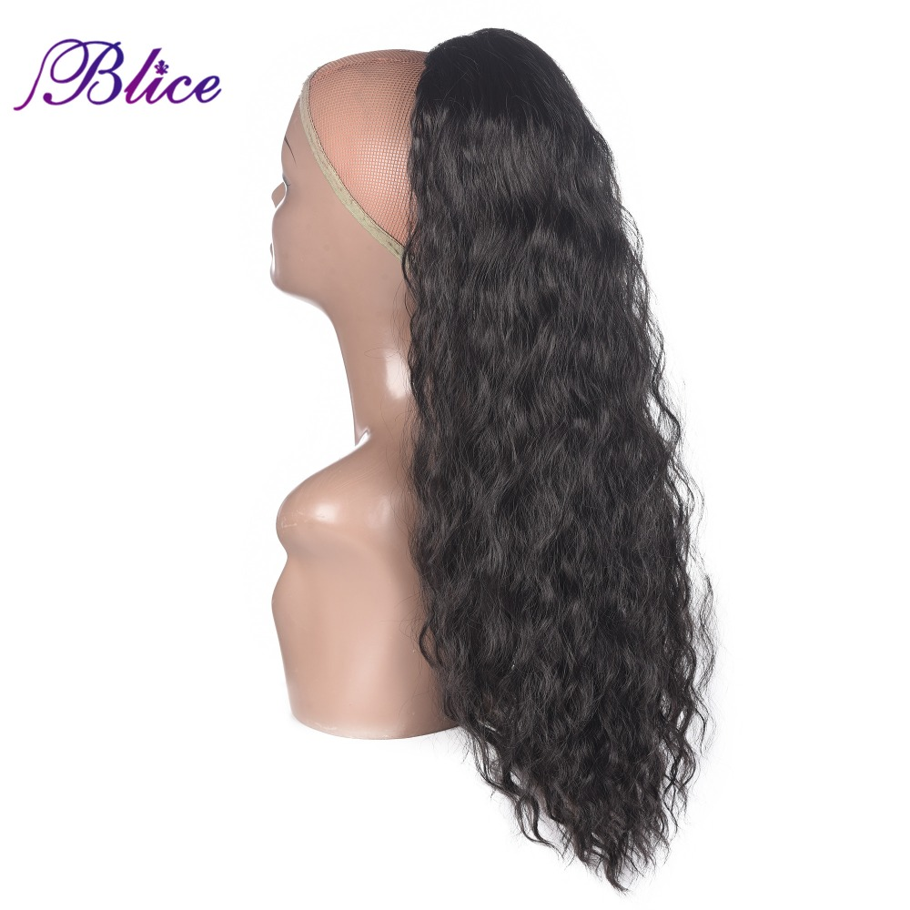Blice Synthetic 20-24inch Drawstring Curly Ponytail Pure Color Alita Heat Resistant Hair Extensions With Two Plastic Combs