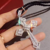 Hot brand party jewelry for women cross necklace cubic zirconia flower cross pendant rose gold silver gold famous brand jewelry