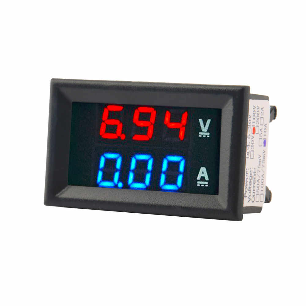 """Digitale DC 100 V 10A Digitale Voltmetro Amperometro Indicatore Doppio Display Tensione Corrente Monitor Detector 0.28 """"Rosso + Blu LED Giocattolo"""