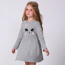 New Cotton girls dress Girl long sleeves dresses children winter autumn heart party clothes kids clothes 2-8age girl clothes