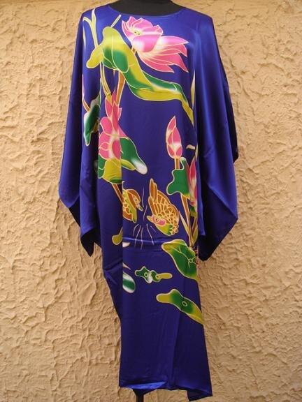 High Fashion Blue Lady Rayon Bath Gown Women Summer Casual Robe Dress Novelty Yukata Nightgown Print Flowers Plus Size S014-H