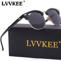 2017 LVVKEE New Classic Half Metal HD Polarized Sunglasses Men Women Club Brand Sun Glasses Drive