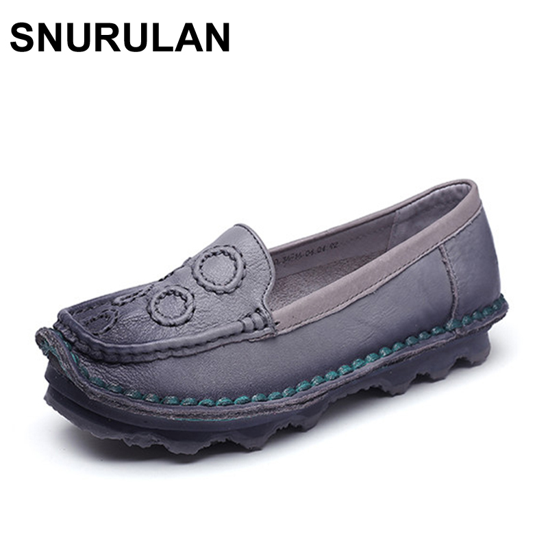 SNURULAN 2017 Genuine Leather Women Shoe Handmade Round Flats Women Loafers Shoes Plus Size Casual Female Flats Driving Shoes gktinoo bow tassel loafers shoe for women handmade genuine leather soft flats autumn driving shoe round toe women flats