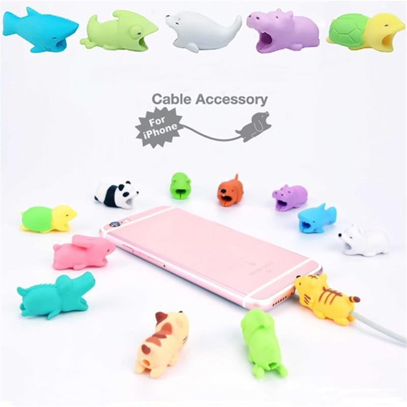 1PCS Animal Bites Cartoon USB Charger Data Cable Cord Protector Cable Winder Holder Accessory Organizer For Iphone Cable