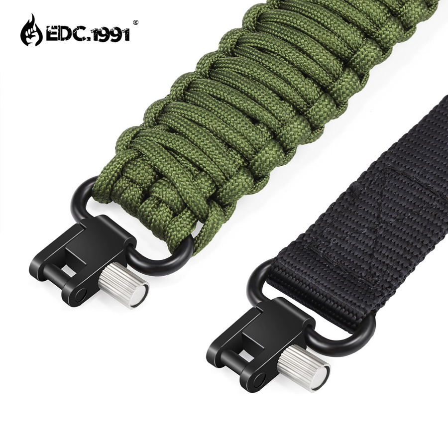 EDC.1991 Gun Sling Paracord 550 Adjustable Length 2 Point Strap With Hunting Camping Tactical Survival Outdoor Activities tools my days reed camouflage car gun case bag outdoor suv seat back gun rack multi pockets truck gun sling hunting car carrier