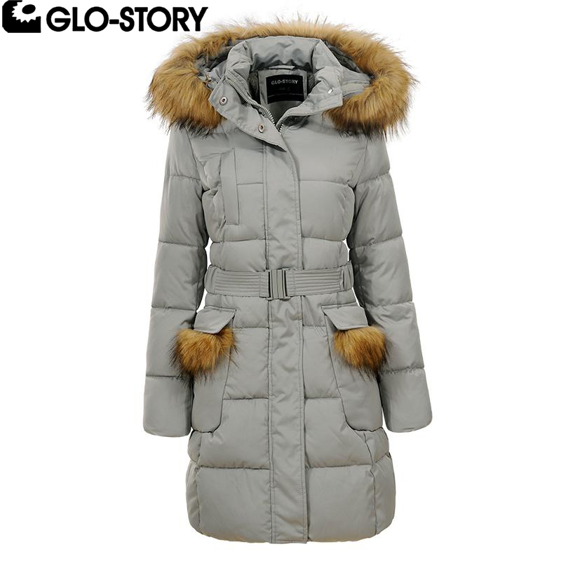 GLO-STORY Woman 2017 Slim Fit Winter Padded Long Coat Women Wool Liner Pocket Fur Hooded Jacket Coats Femenino Parkas WMA-4583 women s cotton padded long jacket winter leisure wild long cashmere wool liner coat casual pocket zipepr parkas mujer jy 805