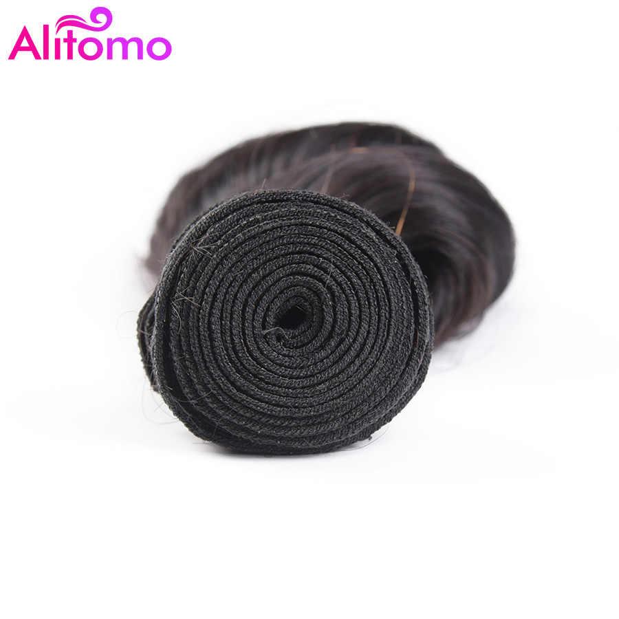 Alitomo pelo suelto con ondas peruanas mechones 100% extensiones de cabello humano Remy Color natural 3 mechones 8-26 pulgadas extensiones de cabello
