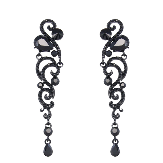 Big Black Long Earrings Angel Wings Rhinestone Crystal ...