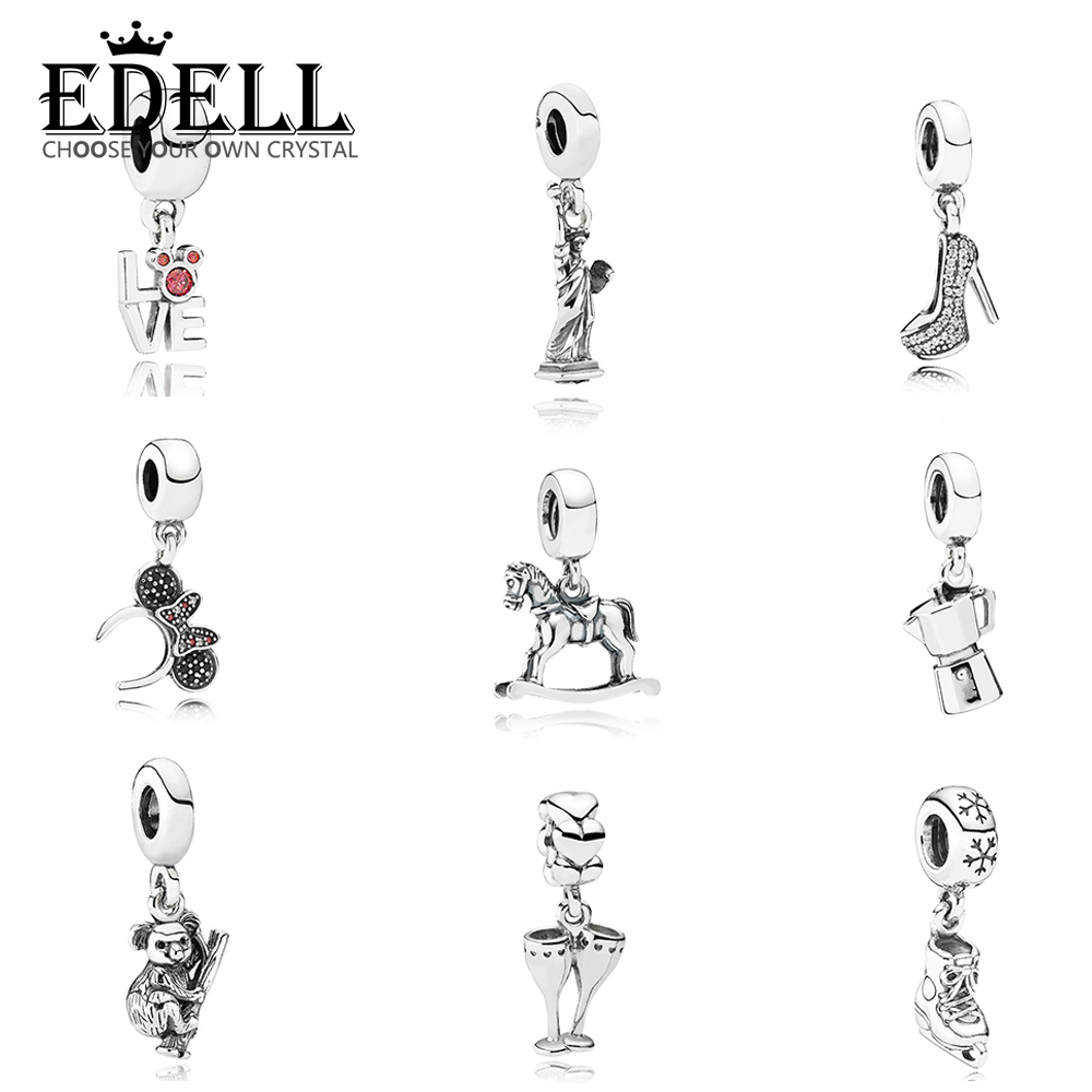 EDELL 100% 925 Sterling Silver 1:1 Ice Skate Stiletto Hanging Charm Koala Horse Coffee Lovers Statue of Liberty Dangle CharmEDELL 100% 925 Sterling Silver 1:1 Ice Skate Stiletto Hanging Charm Koala Horse Coffee Lovers Statue of Liberty Dangle Charm