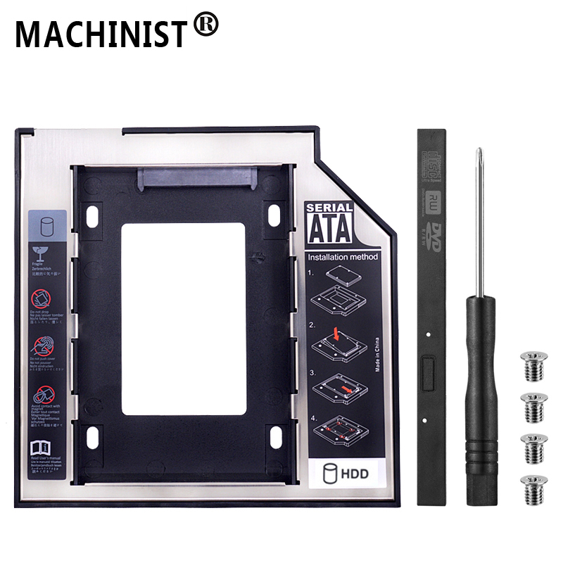 """SATA 3.0 2nd HDD Caddy 12.7mm 2.5"""" 2TB SSD Case Hard Disk Enclosure with LED For Laptop DVD-ROM Optical Bay box Optometrist"""