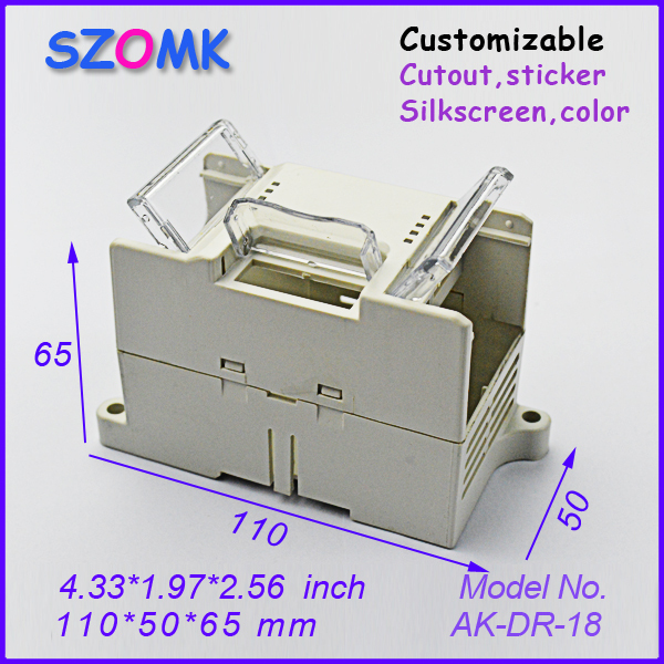 din rail enclosure plastic project box (1 pcs) 110*50*65mm szomk electronics box instrument housing case control box