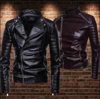 Black brown motorcycle leather jacket men Punk diagonal zipper Stand collar mens leather jackets and coats biker plus size 5XL