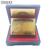 Waterproof Gold Foil Playing Cards Euro 100 Golden Plated Poker With Wooden Box Golden Certificate Table
