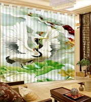 Custom Chinese Curtain 3D Bedroom Curtain Photo cranes jade Curtain Kitchen For Living room Home Decor