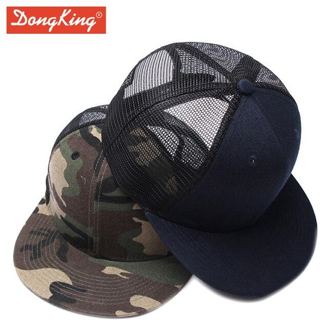 38311c45bac DongKing Fashion Trucker Cap Casual Solid Snapback Mesh Caps Flat Visor  Acrylic Mech Hat Custom Personalized Hats Gift