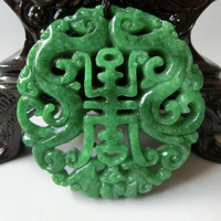 Natural green stone hand-carved, Ssangyong send the fortune to send the (life).(Amulet).Necklace pendant.
