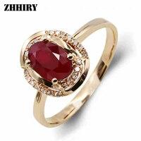 18 천개 골드 반지 100% 천연 루비 보석 정품 다이아몬드 여자 반지 우아한 보석