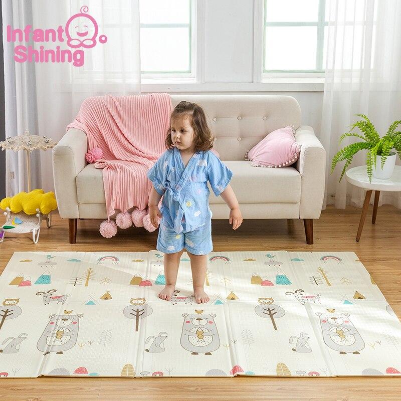 Infantile brillant enfants tapis de jeu pliant Puzzle tapis de jeu tapis de jeu pour les nourrissons 200*150*1 cm mousse ramper tapis Pack et jouer matelas - 3