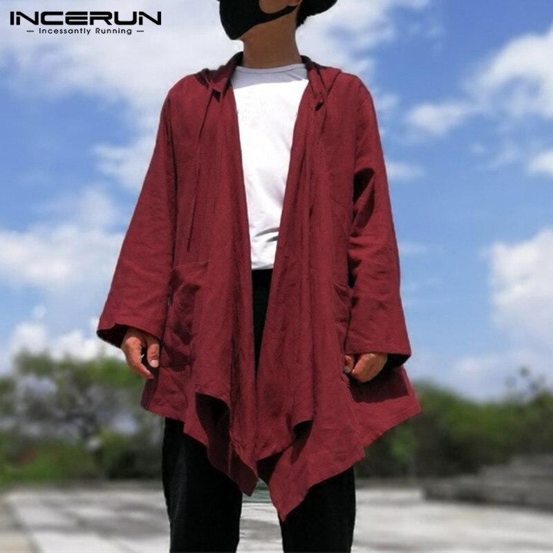 Hiphop Men's Cardigan Hoodie Cloak Long Sleeve Autumn Hoody   Trench   Casual Jacket Cape Coat Men Clothing Black New Coat NCERUN