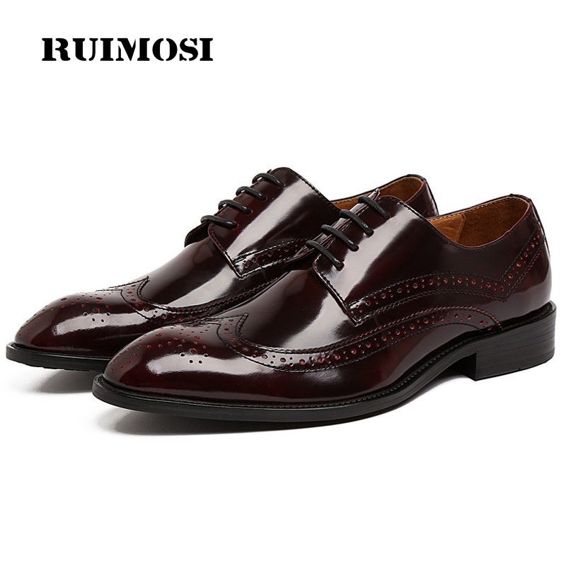 RUIMOSI Vintage Wing Tip Man Formal Dress Shoes Patent Leather Wedding Bridal Oxfords Round Toe Derby Men's Brogue Flats UH43