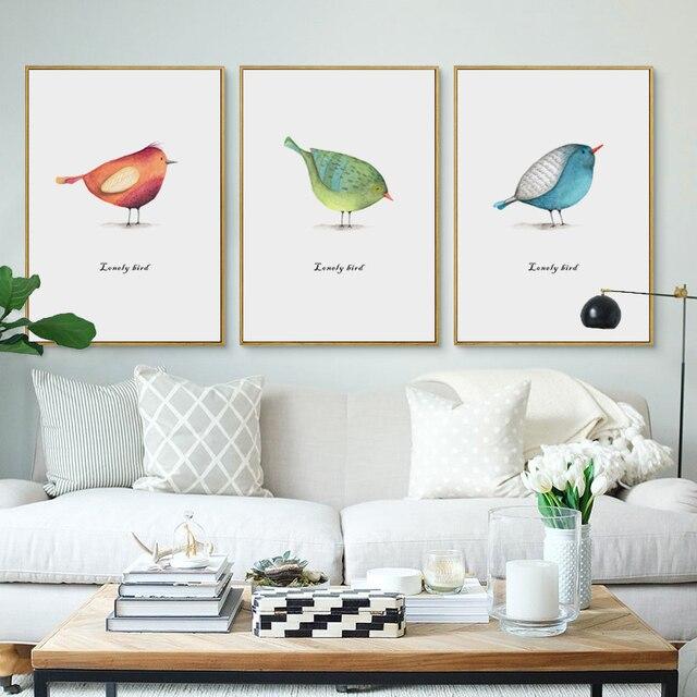 Babykamer Groen Blauw.07g Mooie Groen Blauw Aquarel Vogel A4 A3 A2 Canvas Art Schilderen