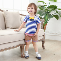 Gentleman Baby Boy Clothes T Shirt Shorts Two Piece Boys O Neck Bule And White Cotton