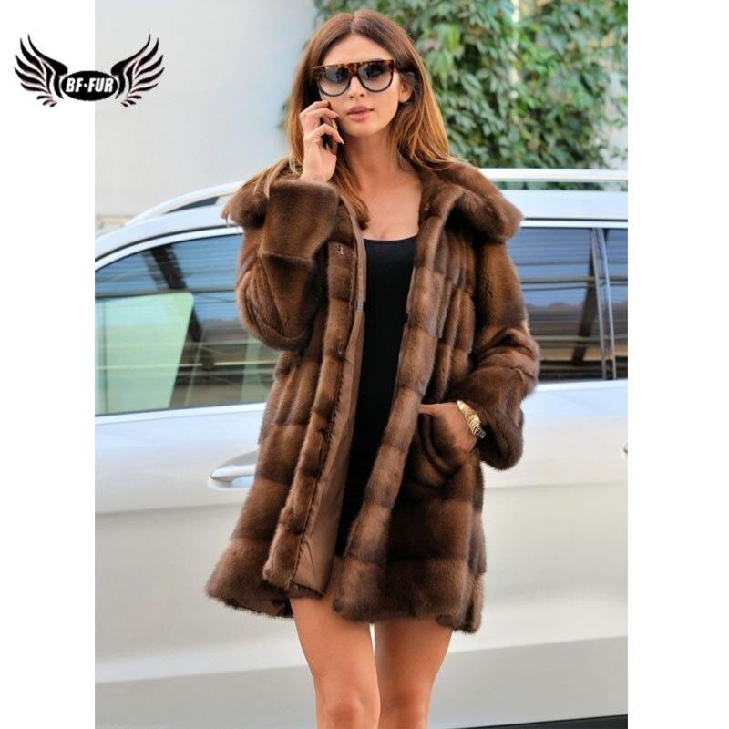 Женское Норковое Пальто BFFUR, зимнее облегающее пальто с натуральным мехом, для вечеринок и вечеринок