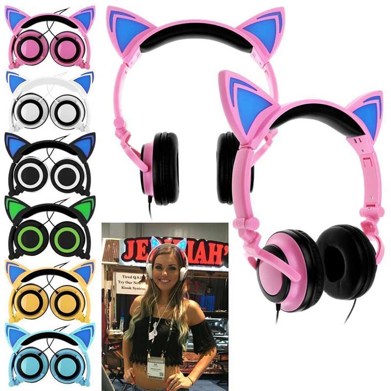 New Foldable Flashing Glowing Cat Ear Headphones Gaming Headset Wired Earphone With LED Light For Laptop