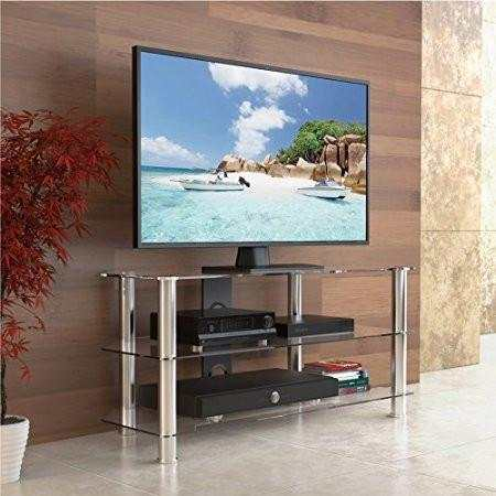 Online Shop Fitueyes Curved Silver Corner Tv Stand For Up To 46inch