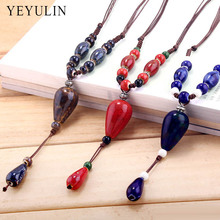 Trendy Popular Round Drop Water Shaped Charms ceramics Beads Pendant Necklace For women ladies jewelry Gift
