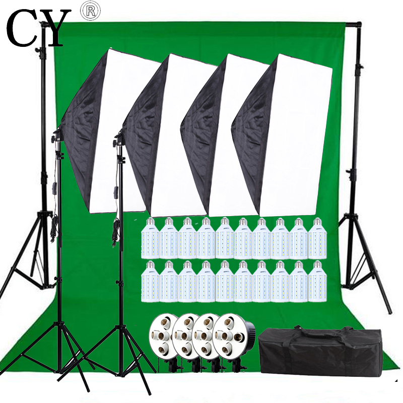 Photo Studio Video Lighting Kit 20W LED Light+ SoftBox with E27 5 Lamp Holder+Backdrop Support Cross Bar With Backdrop Set