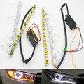 2x Автомобилей Гибкая Белый/Янтарный Горки LED Knight Rider Полосы Света для Фар Последовательного Flasher Двойной Цвет DRL Включите сигнал