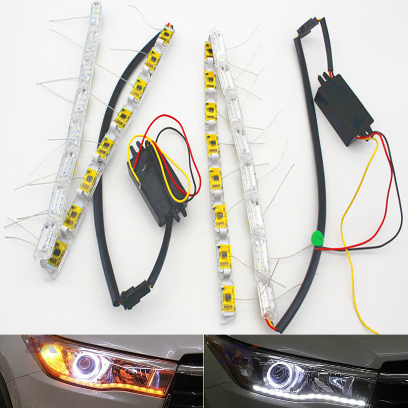 2x Car Flexible White/Amber Switchback LED Knight Rider Strip Light For Headlight Sequential Flasher Dual Color DRL Turn Signal
