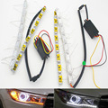 2x Coche Flexible Blanco/Ámbar Switchback LED Knight Rider Franja de Luz para La Linterna Intermitente Secuencial Color Dual DRL Enciende señal