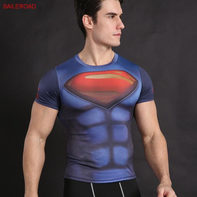2fa424f38f Homens Superman Punisher Dragon Ball 3d T Camisa Camisa De Compressão  Calças Justas Da Aptidão Crossfit