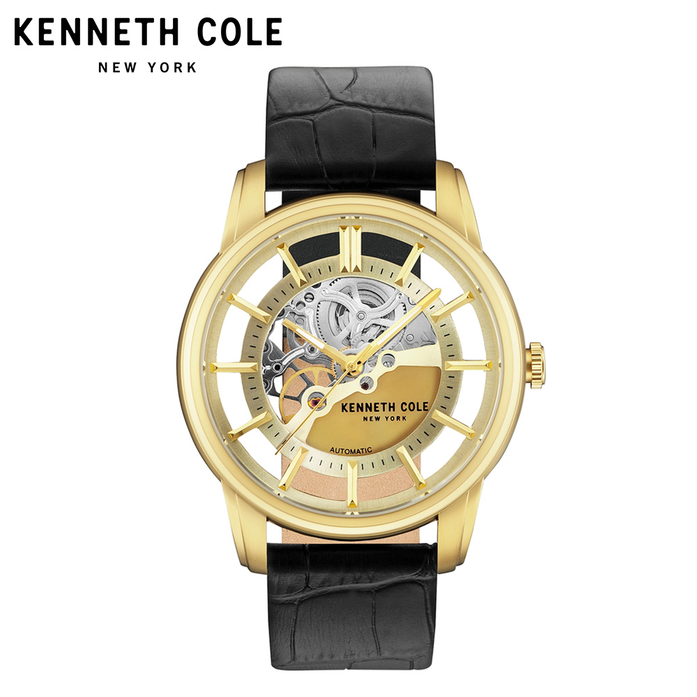 Kenneth Cole Mens Watches Auto Mechanical Gold Black Leather Buckle Strap Stainless Steel 2018 Luxury Brand Waterproof Watch tevise fashion auto date automatic self wind watches stainless steel luxury gold black watch men mechanical t629a with tool